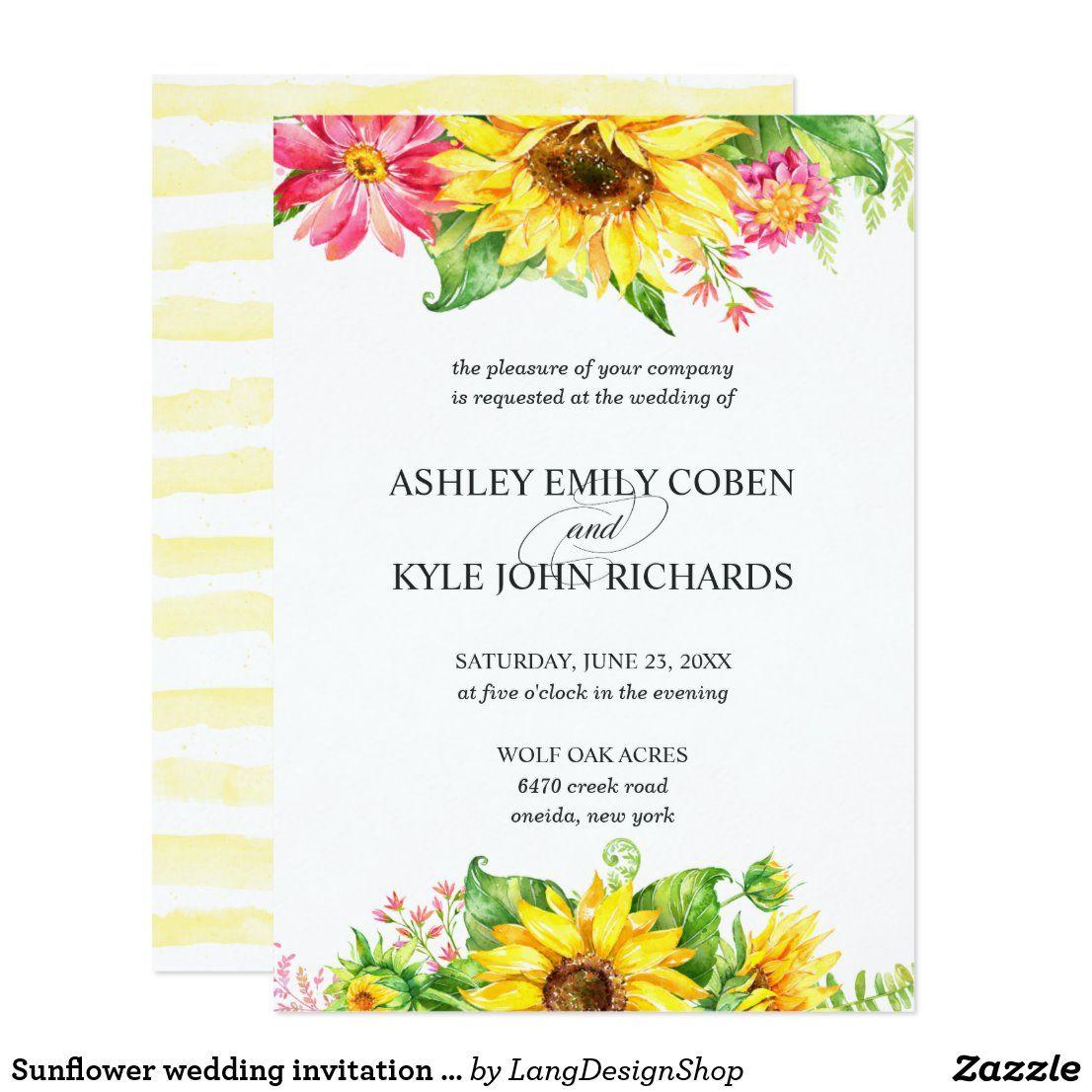 Sunflower wedding invitation on light background Zazzle