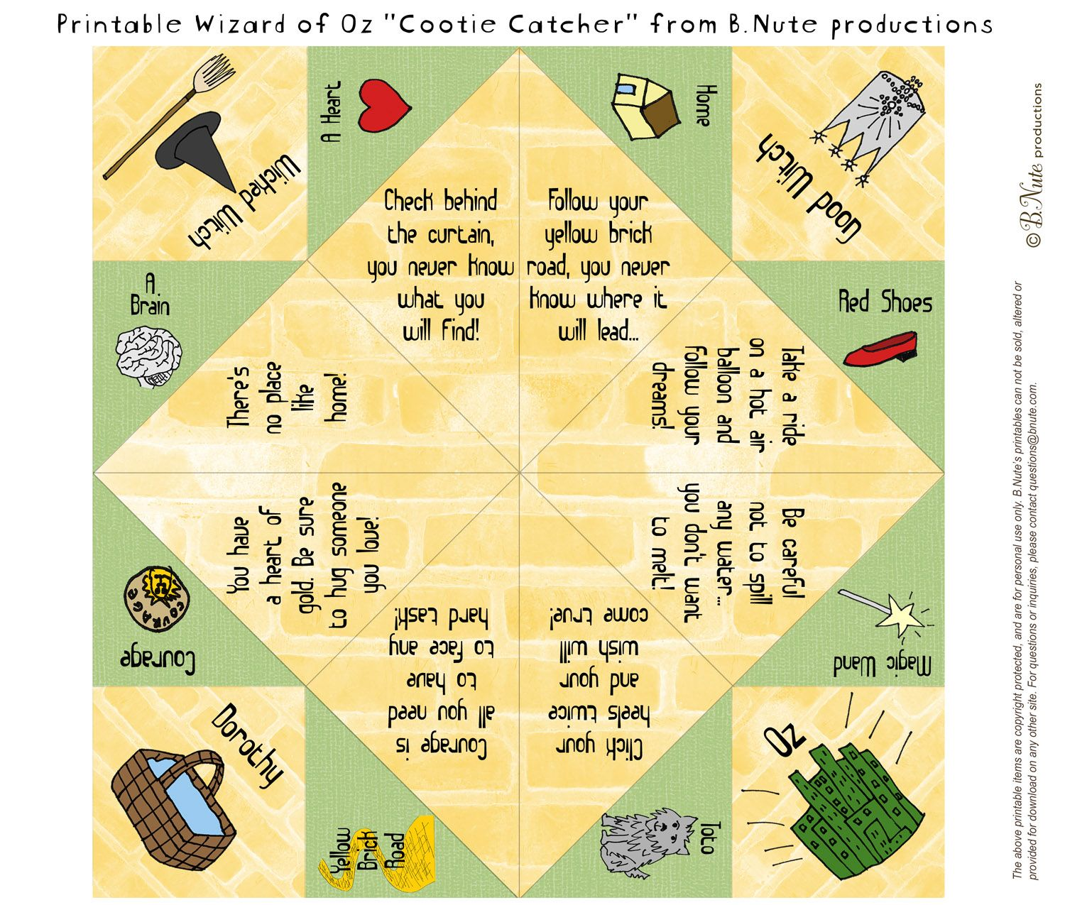 Free Printable Wizard Of Oz Cootie Catcher Fortune