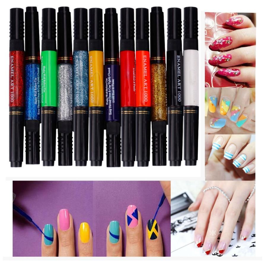 Sale 3D Acrylic Nail Polish Painting Pen 12 Colors Two-way Dotting ...