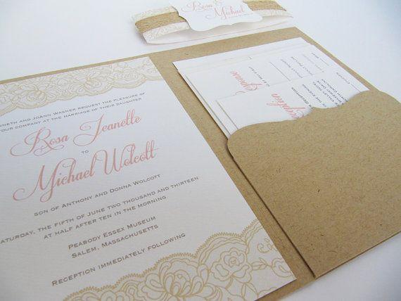 Rustic Wedding Invitation Pocketfold Suite By