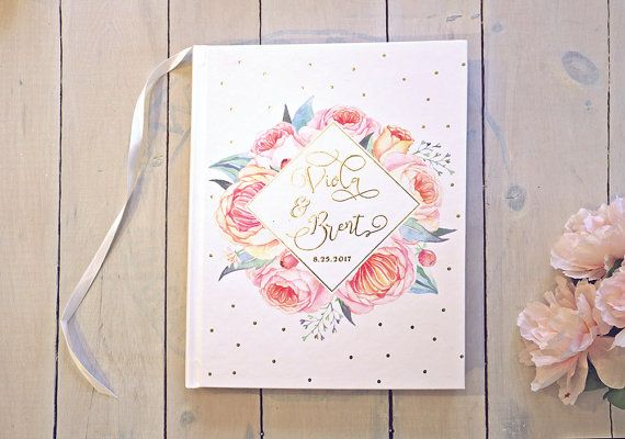 Floral Gold Foil Wedding Guestbook  Modern by PaperPeachShop