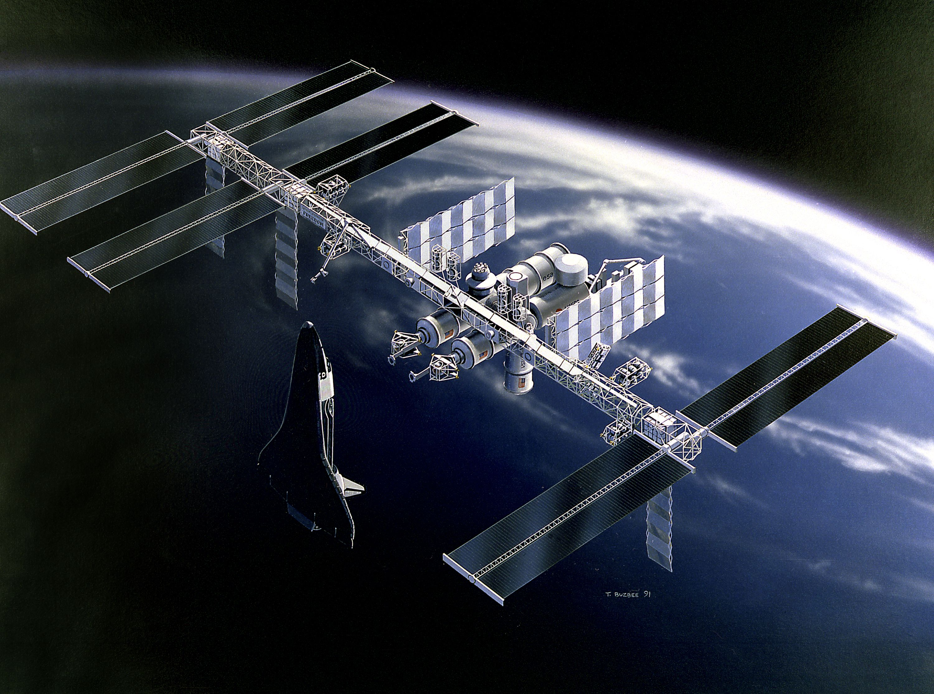 Space_Station_Freedom_design_1991 Space station, Space