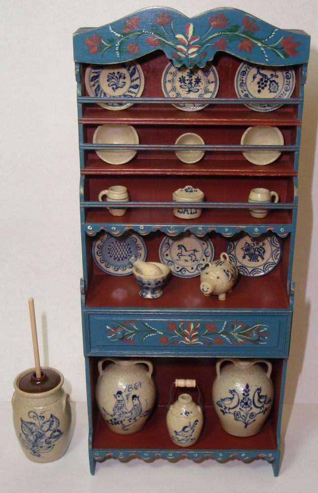 """Blue /& Cream Round Table w//Drawers  DOLLHOUSE FURNITURE 1//12 or 1/"""" Scale BESPAQ"""