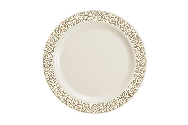 Lace Collection Premium China Like Plastic Wedding And Party Dinnerware Plates Set Of 120 Plates Gold Plastic Plates Plastic Plates Plastic Plates Wedding