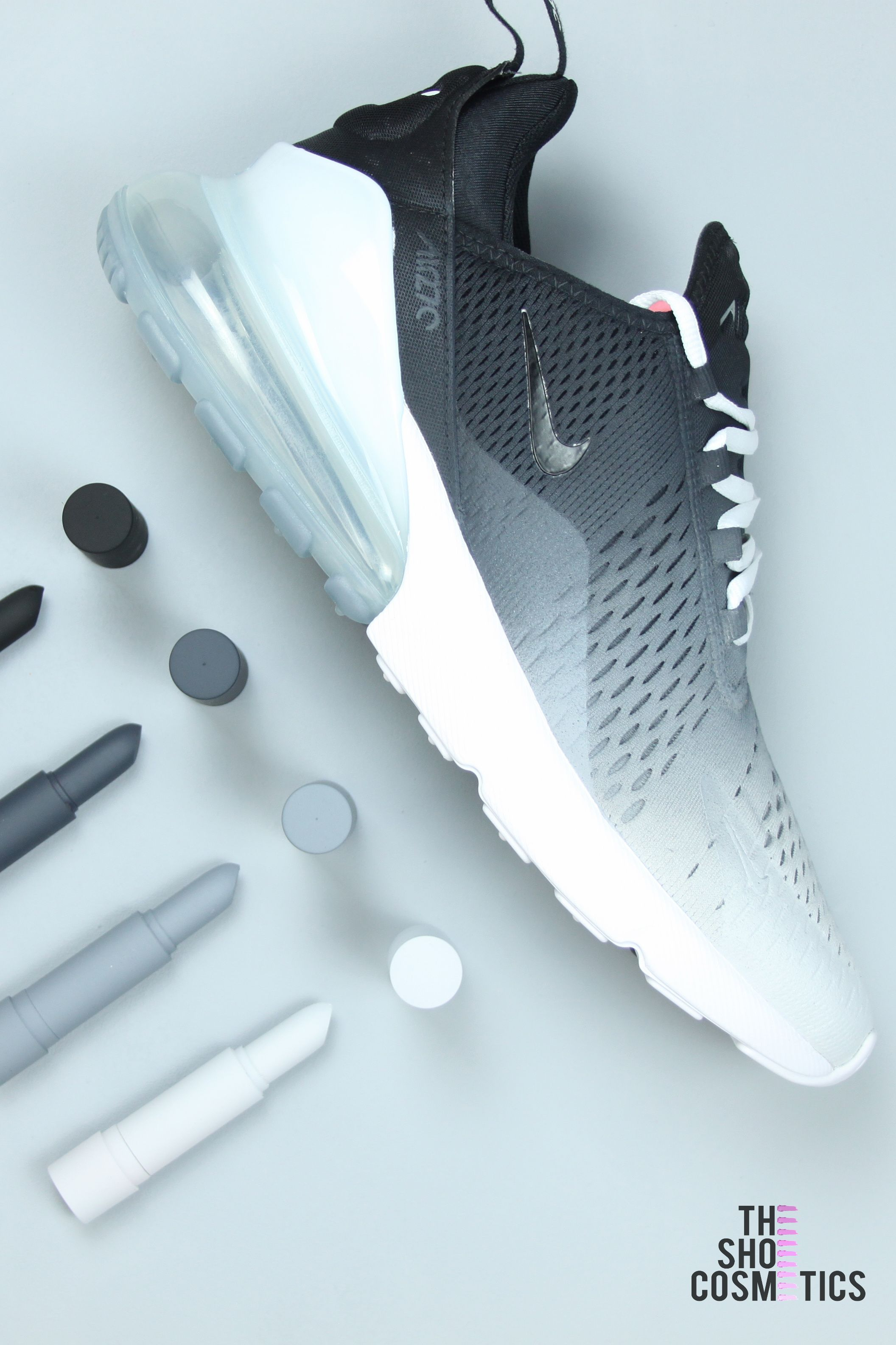 CUSTOM NIKE AIR MAX BLACK AND WHITE OMBRE 270's | shoes in