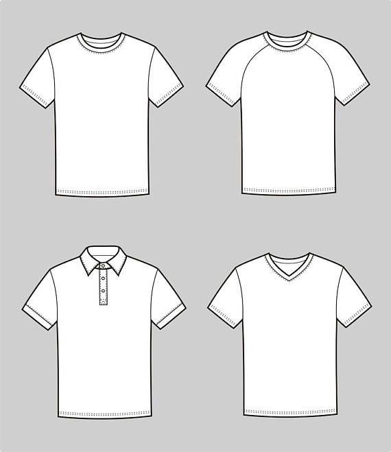 T Shirt Vector Fashion Flat Sketch 2 36 Adobe Illustrator Design Technical Outline Flat Drawi Shirt Illustration Shirt Drawing Illustration Fashion Design