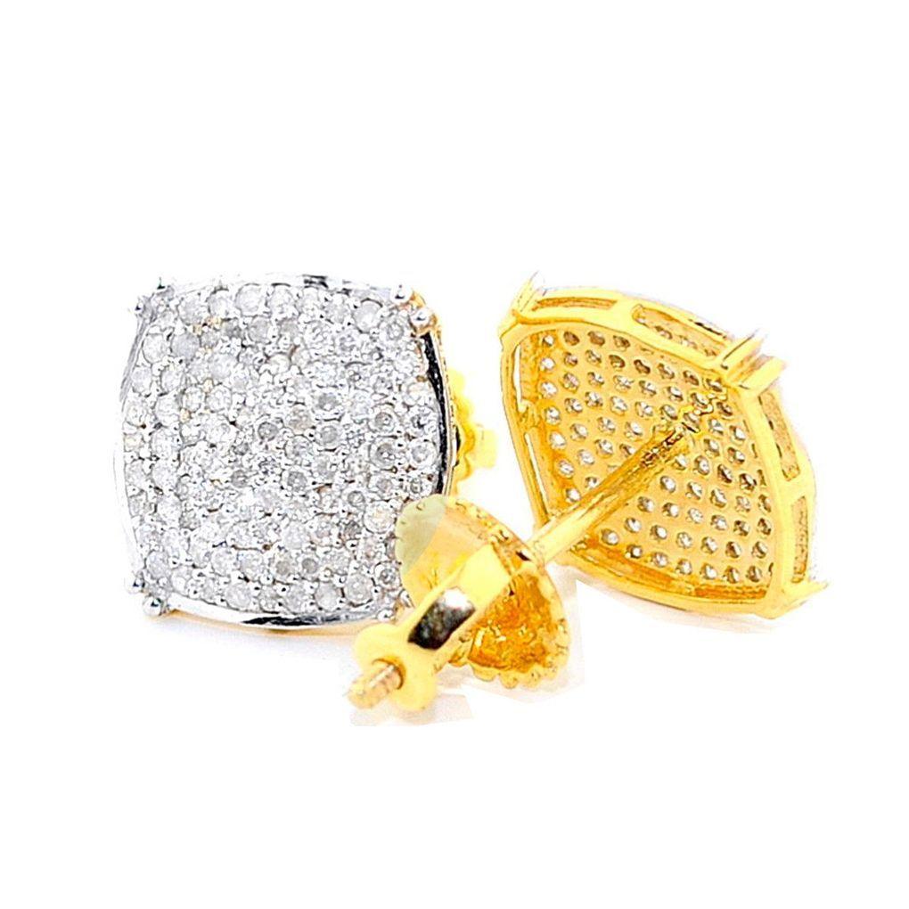 Diamond Earrings Mens 1 3cttw 10k Yellow Gold Pave Set