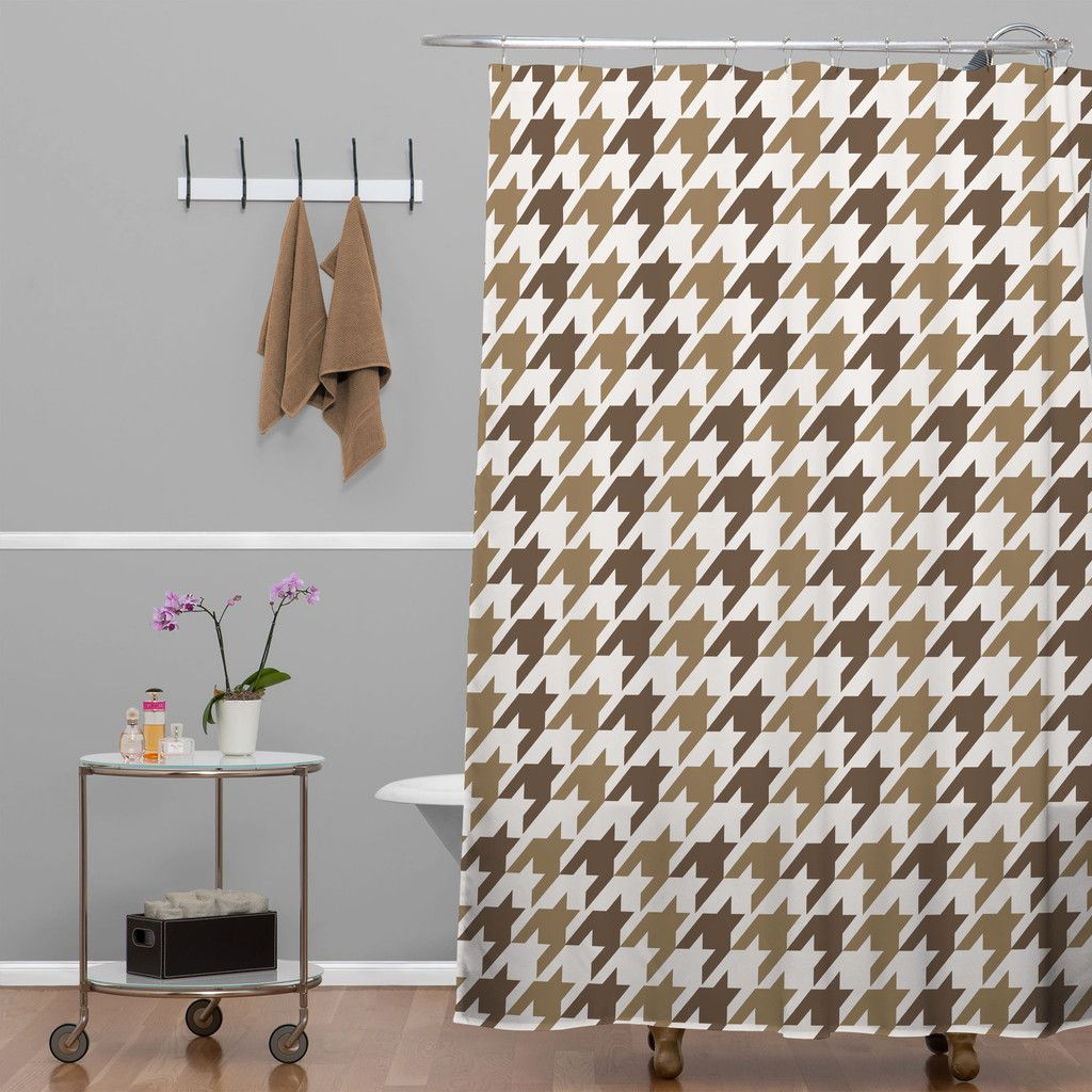 Allyson Johnson Classy Brown Houndstooth Shower Curtain | DENY Designs Home  Accessories #denydesigns #home
