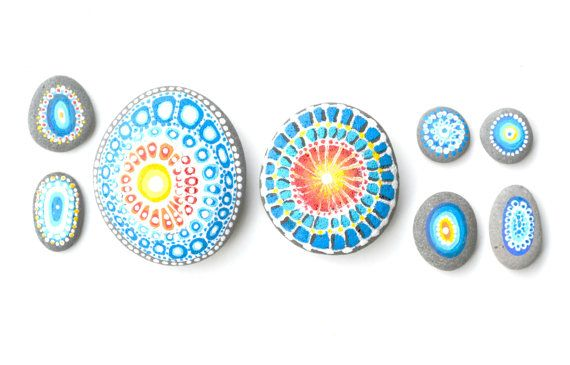 Set of 8 acrylic paint hand decorated sea stones/ by Grazima