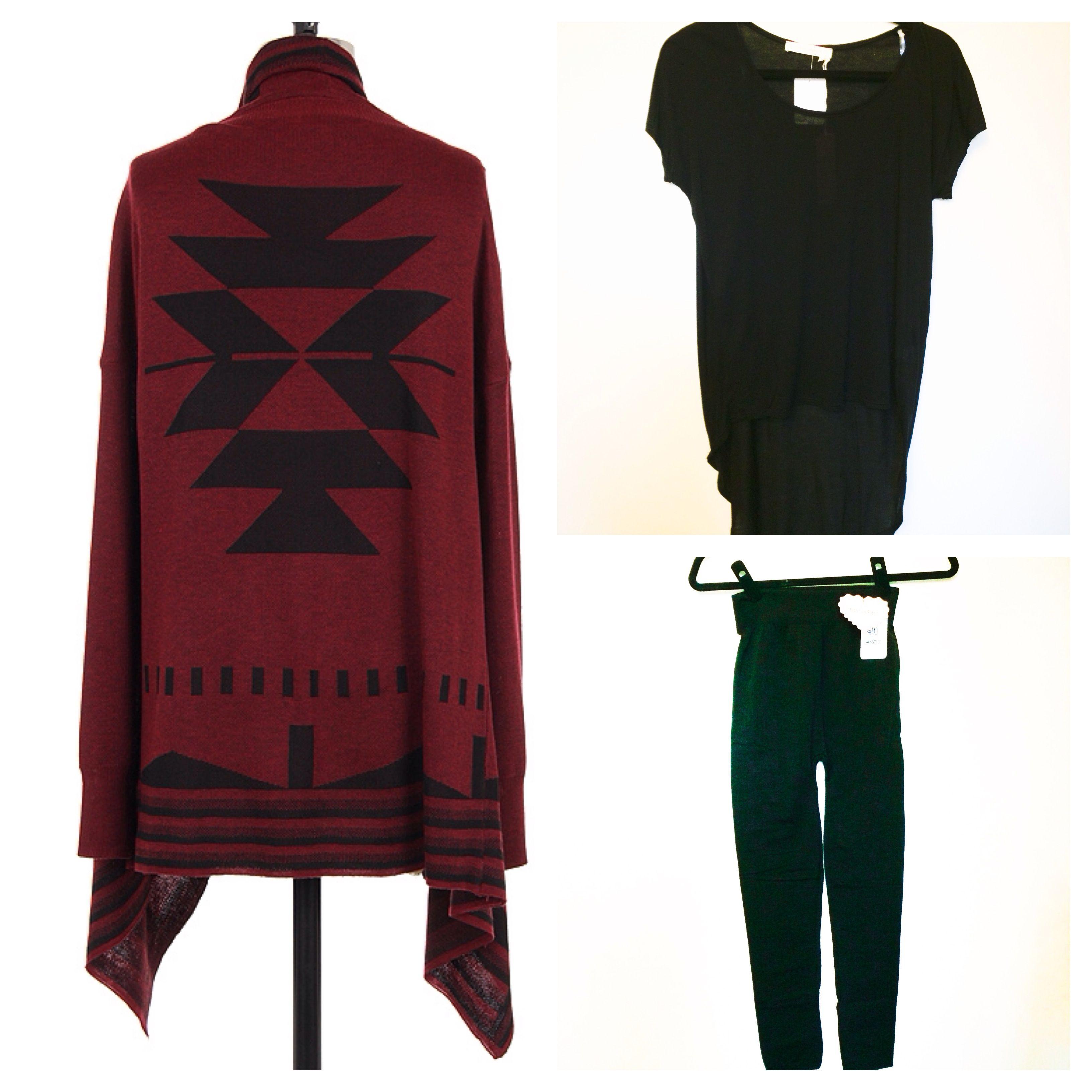 Aztec flyaway cardigan in Burgundy $44 in store at Kali Rose Boutique