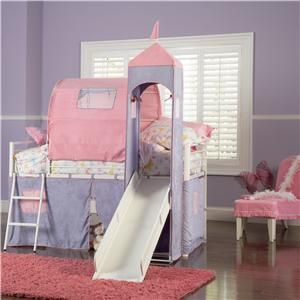 Powell Princess Princess Castle Twin Bunk Bed With Tent And Slide
