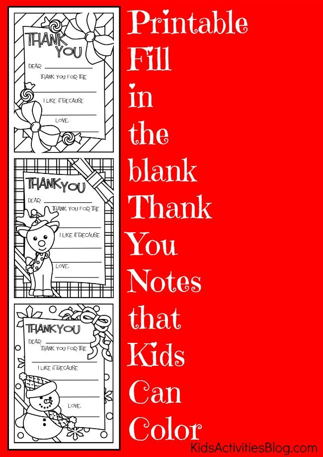 Printable Fill In The Blank Thank You Cards Printable Thank You Notes Kids Christmas Christmas Thank You