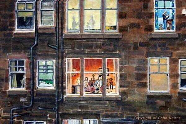 'Edinburgh Tenement' - detail - Edinburgh Paintings
