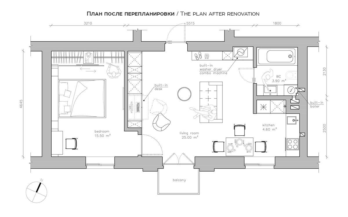 3 modern style apartments under 50 square meters includes floor plans interior design. Black Bedroom Furniture Sets. Home Design Ideas