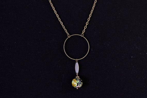 Collier sautoir bronze et perle d'asie