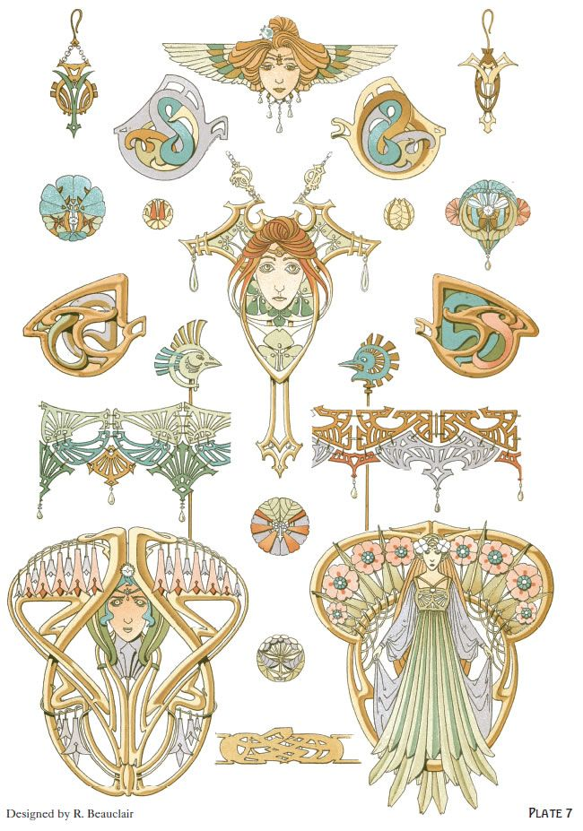 Art Nouveau Jewelry Designs By Rene Beauclair Welcome To Dover Publications Excerpt 3 Art Nouveau Illustration Art Nouveau Jewelry Vintage Art
