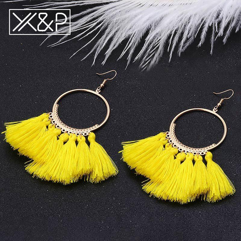 e9f0b3373 X&P Fashion Bohemian Handmade Tassel Long Drop Earrings for Women Girl  Vintage Statement Ethnic Big Round Dangle Earring Jewelry,#Long#Tassel# Earrings
