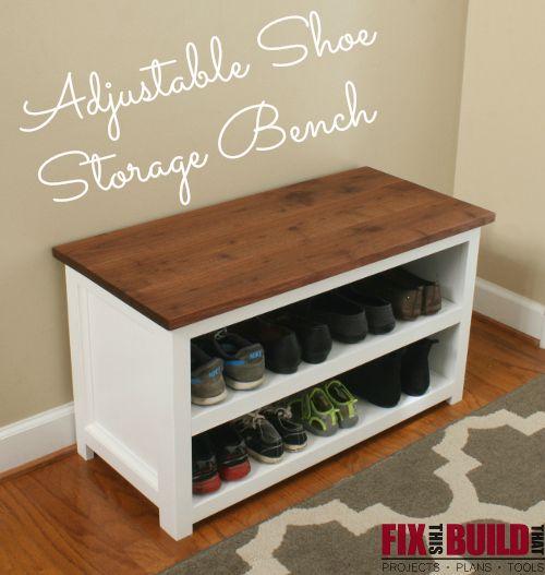 DIY Adjustable Shoe Storage Bench | Shoe storage benches, Storage ...