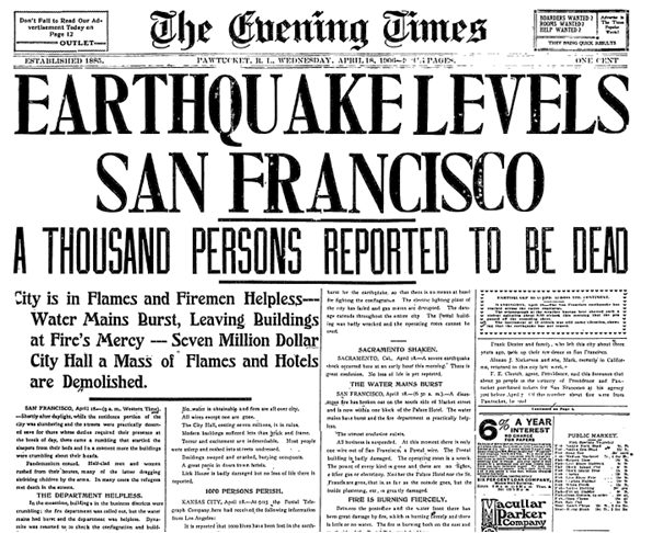 earthquake levels san francisco evening times newspaper article 18 april 1906 pawtucket