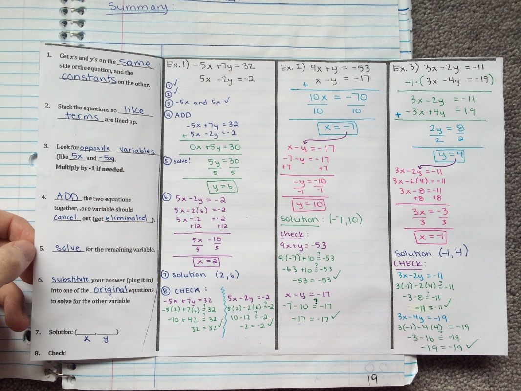 Algebra 1 Notes Solving Systems With Elimination