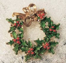 Beautiful Christmas Red and Green Enamel Holly Wreath Brooch with Gold Bow. Visit my store at  http://www.rubylane.com/shop/aplaceofdistinction/ilist/,cs=Jewelry:Vintage:Christmas+Jewelry
