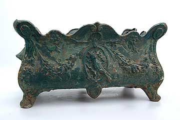 French Antique Cast Iron Green Planter
