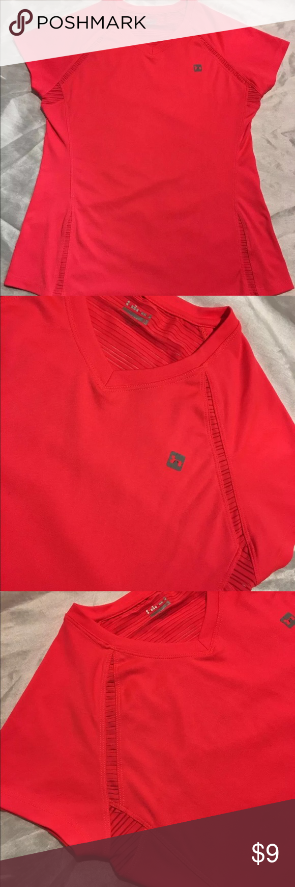 Hind Athletic Top Short Sleeve V-neck Size Small