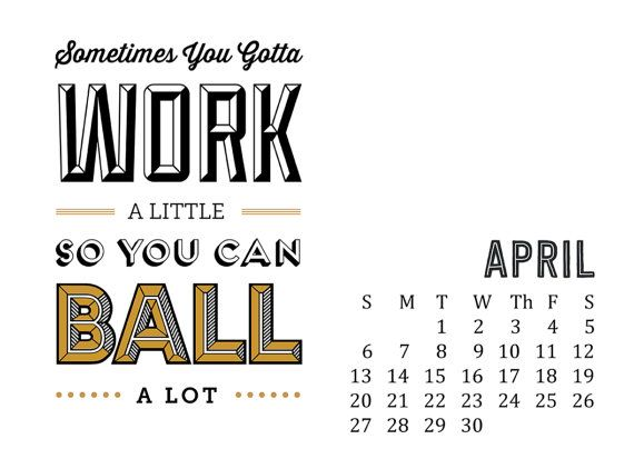 2014 Calendar Parks and Rec Calendar Typography by