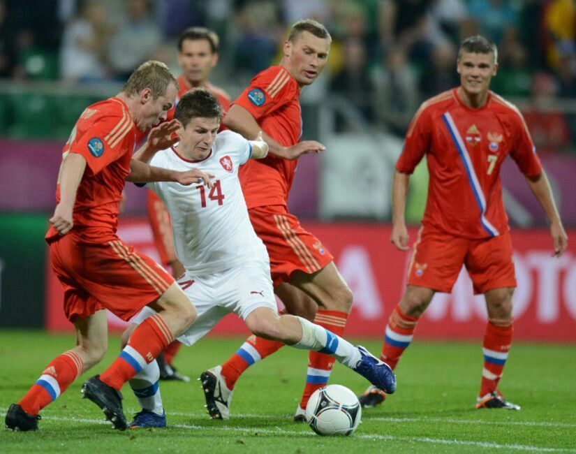 Russia 4 Czech Rep 1 in 2012 in Wroclaw. Aleksandr Anyukov challenges Vaclav Pilar in Group A at Euro 2012.
