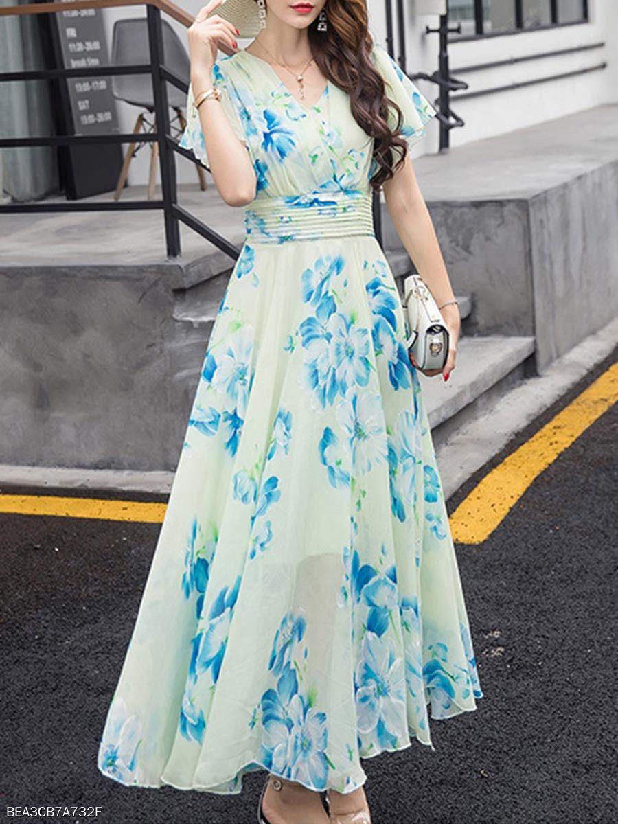 Summer V Neck Floral Printed Chiffon Maxi Dress Fashionmia Com Maxi Dress With Sleeves Maxi Dress Chiffon Maxi Dress [ 1200 x 900 Pixel ]