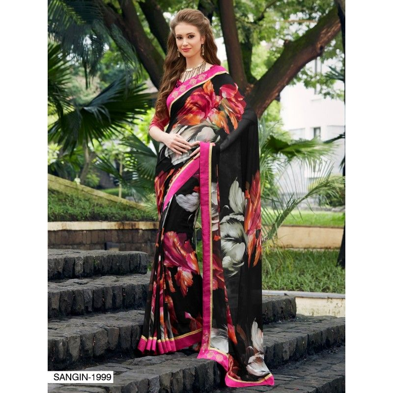 Diwali Special Black Printed With Border Georgette Saree-RKNK1999(FH-RKNK1972)