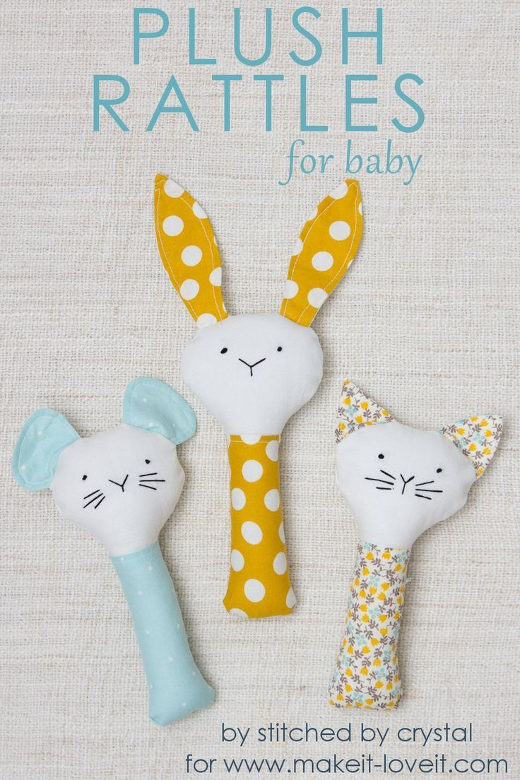 Sew a Plush Rattle for Baby (…a bunny, cat, & mouse)! #cutebabybunnies