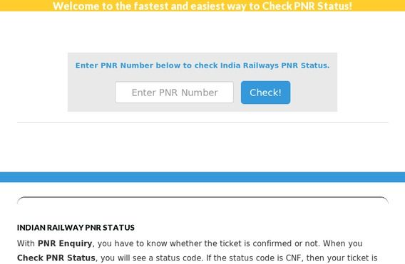 Http Www Easypnrstatus In Pnr Status Check Pnr Status Of Indian Railways Check Irctc Pnr Status By Entering 10 Digit Indian Railways India Railway Pnr