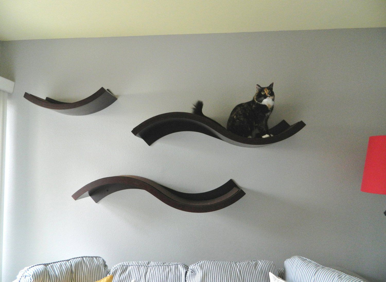 Curved Wall Shelves Amazoncom Urban Pet Haus Wave Wall Mounted Cat Perch Small