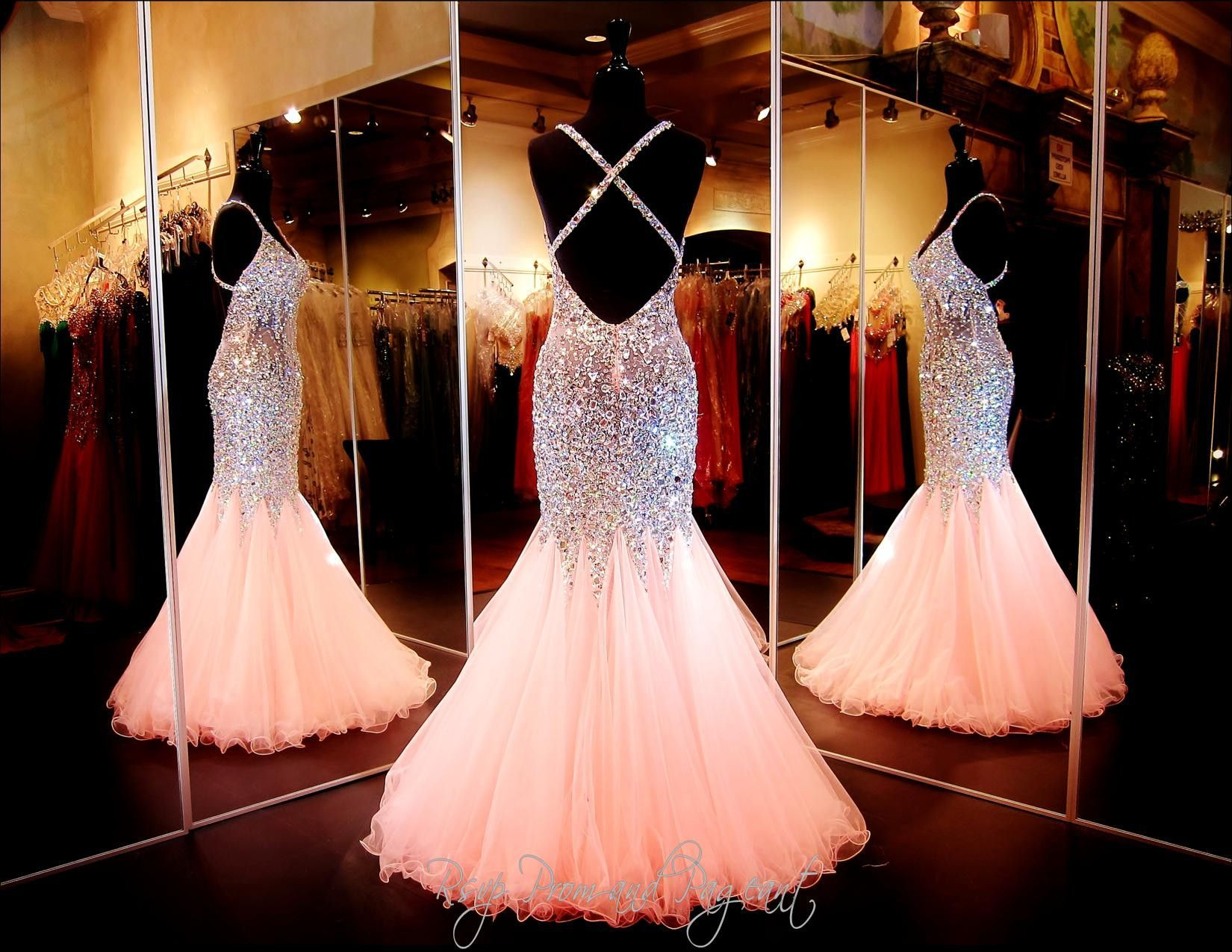Coral beaded mermaid prom dressopen backonly at rsvp prom and