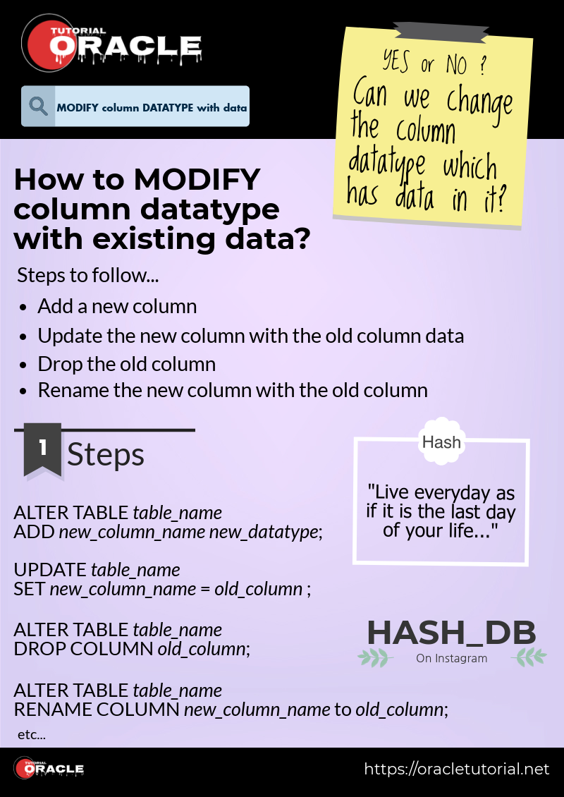 Oracle Tutorial: Can we modify column datatype which has