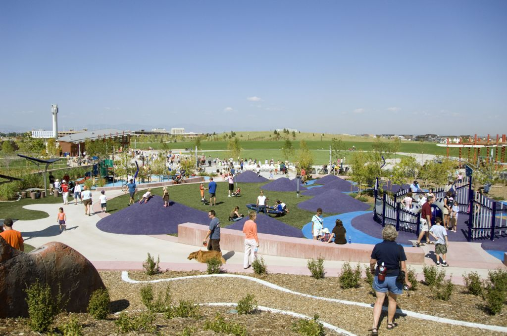 Stapleton Central Park S Massive Playground Fit With Mini Purple Hills For The Kids Denver Vacation Road Trip To Colorado Colorado Vacation