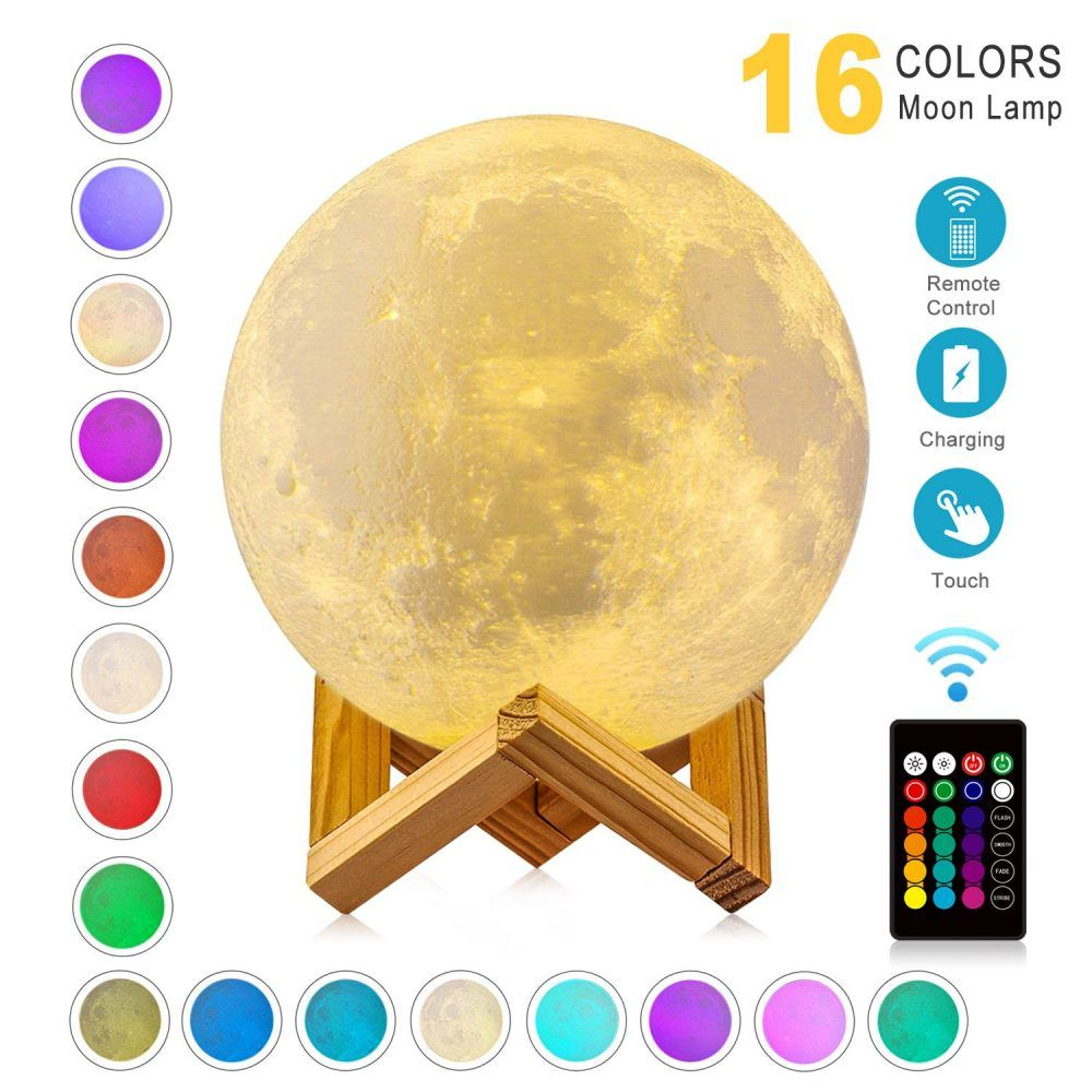 15cm Rgb Moon Lamp Modern 3d Print Luminaria Dimmable 16 Colors Touch Usb Rechargeable Led Night Light Remote Home Creative Gift In 2020 Led Night Light Night Light Moon Light Lamp