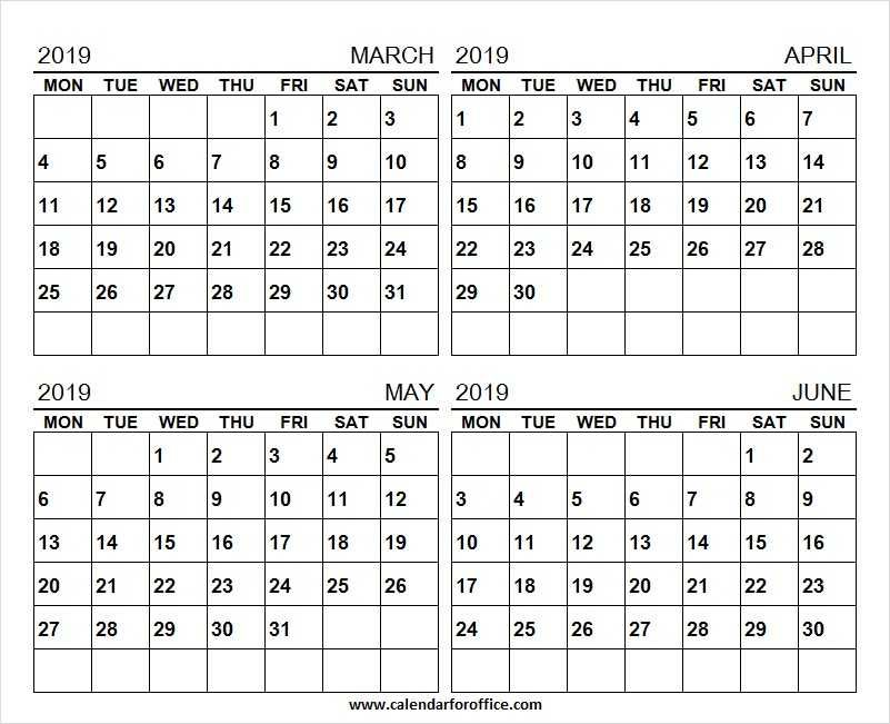 Calendar 2019 March April May And June Tumblr Four Month