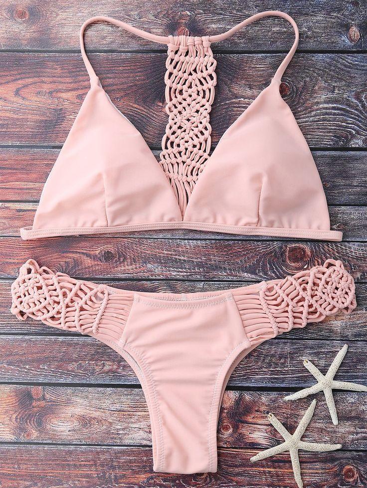 Damen Häkel Netz Monokini Push Up Bikini Strand Badeanzug* XS S M L-34 36 38 40