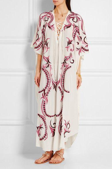 Melissa Odabash   + Julien Macdonald Iris embroidered silk kaftan   NET-A-PORTER.COM