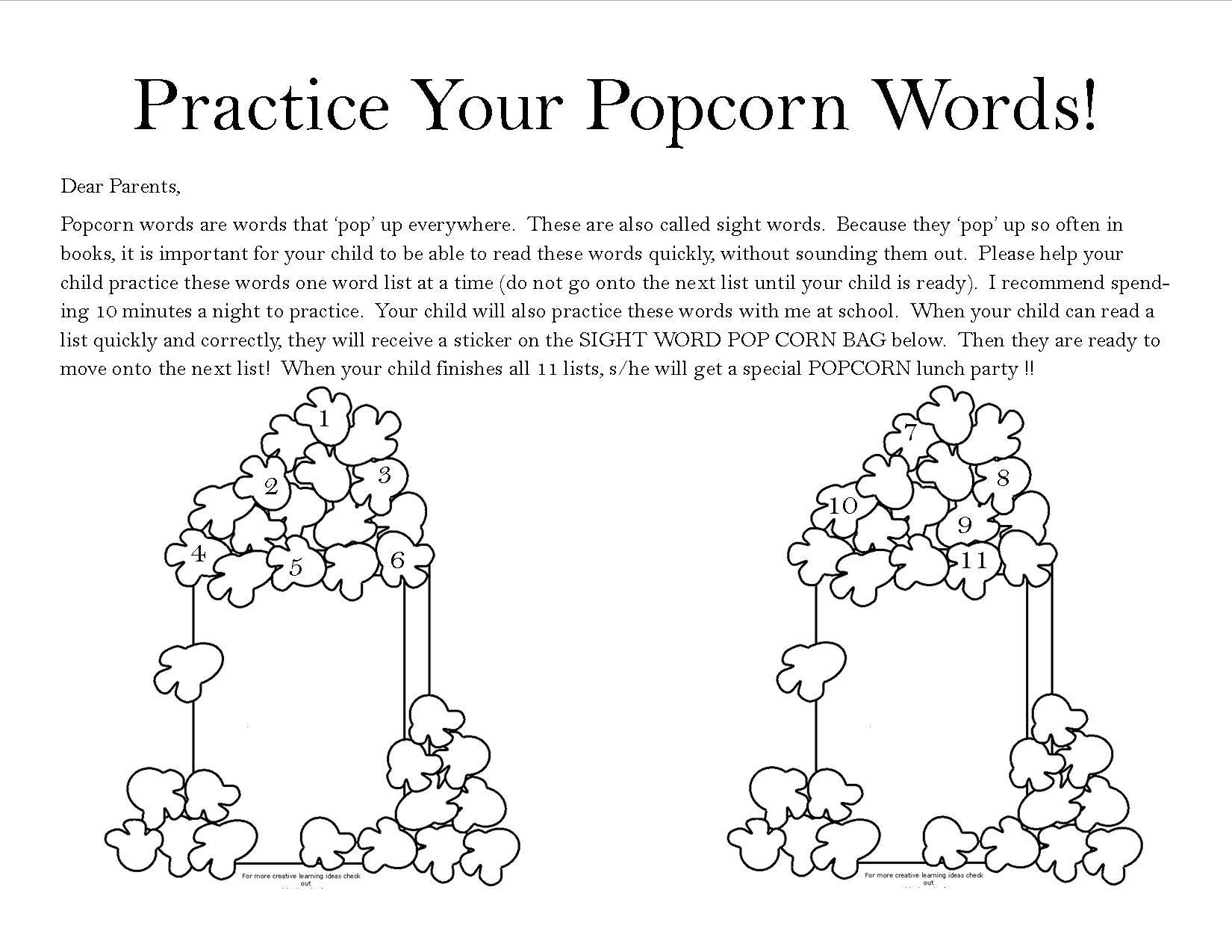 Popcorn Sight Words Parent Letter