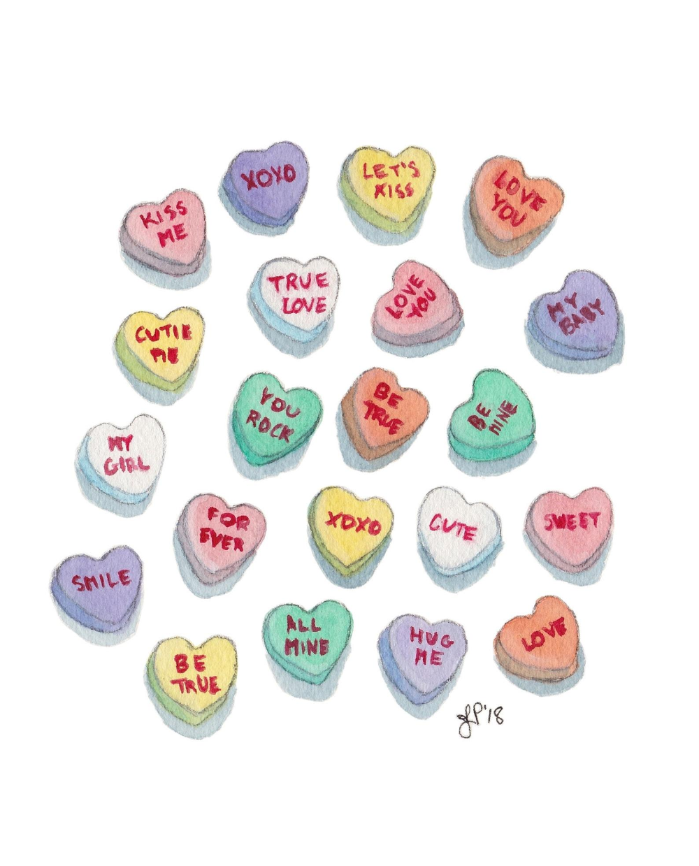 Candy Hearts Watercolor Art Print Colorful Necco Sweethearts Etsy Watercolor Art Prints Valentines Art Heart Candy
