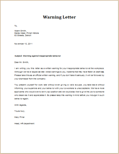 Inappropriate Behavior Warning Letter Download At HttpWww