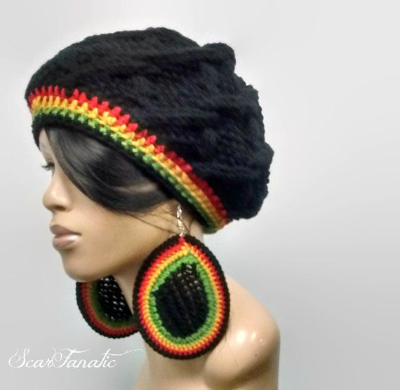 80305c10a5b MADE TO ORDER Black hand knit cabled slouch hat  Slouchy Beanie with Rasta  stripes and free crochet