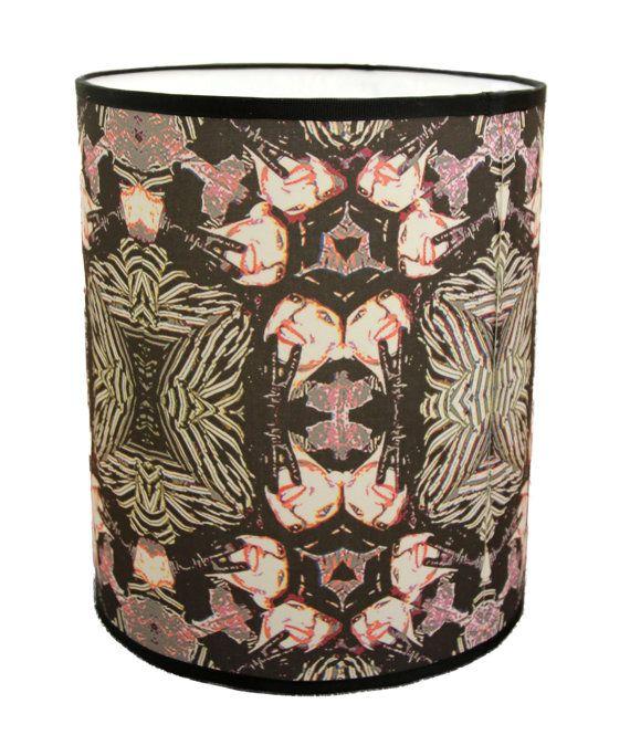 Lampshade For Table Lamp Black Art Deco Light Shade Drum Large Handmade