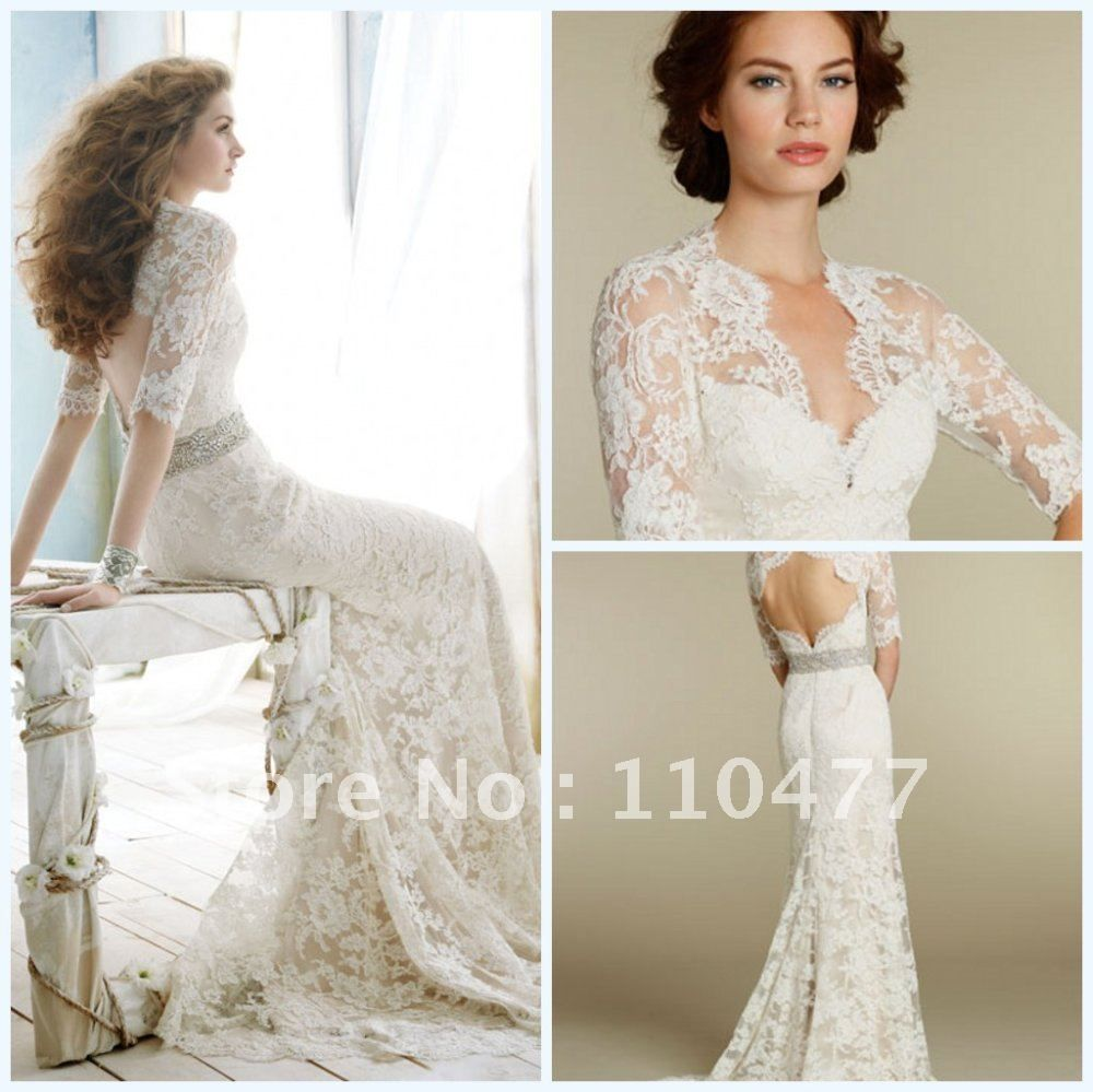 Fw vintage half sleeve backless long lace sexy mermaid elegant