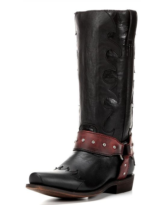 Wo Jezebelle Harness Boot - Manchester Black and Red ...