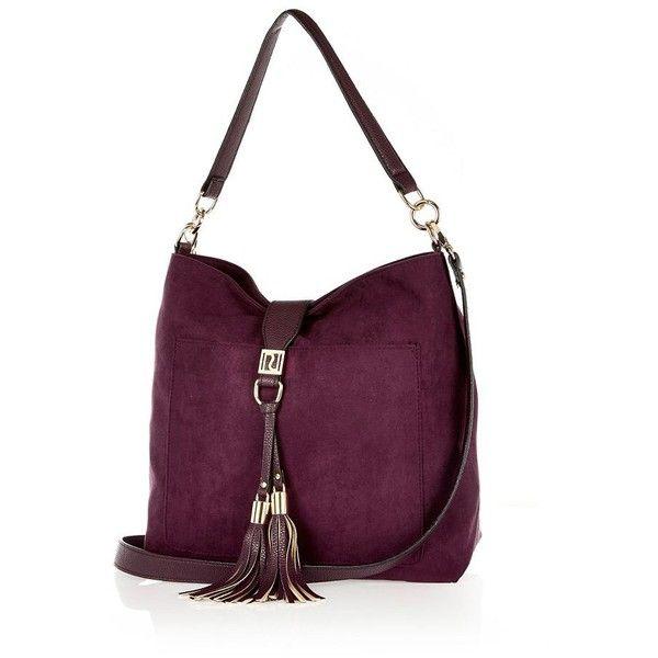 River Island Dark Purple Tassel Front Faux Suede Handbag 64 Liked On Polyvore Featuring Bags Handbags Shoulder Purses Women