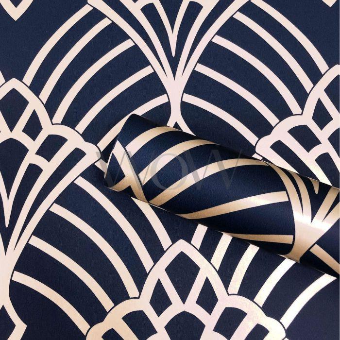 Blue Gold Ribbon Geometric Wallpaper Stripes Metallic Shimmer Paste Wall Vinyl